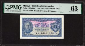 Banknotes & Coins Auction - Series 9/2021Malaya, 1940, 10 cents (Vintage) Emergency Issue - A019532 [PMG 63] Prefix A, Minor Rust.