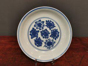 Ming Dynasty Wanli Imperial Ware Blue and White Dragon Flower Motif Plate, Ming Wanli Six-Character Mark 明万历 官窑青花龙纹花卉盘 明万历六字款