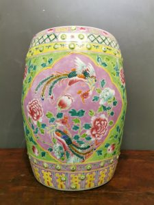 Late Qing to Republic Extremely Rare Imperial-Class Straits Chinese Famille Rose Lime Green Buddhist Emblems Flying Phoenix Peonies Garden Drum Stool. Nyonyaware.                                                 清末民初 极稀有官窑级侨生华人粉彩柠檬绿八宝凤凰飞翔牡丹鼓凳 娘惹瓷