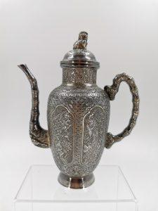 Early 20th Century Extremely Rare Straits Chinese Wine Ewer Silver Ware Engraved with Four Seasons FLower Phoenixes Magpies  20世纪初 极度稀有侨生华人葡萄酒壶刻四季花卉凤凰喜鹊银器